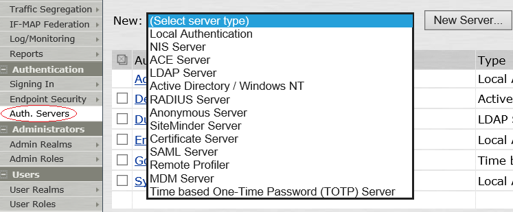 1. pulse secure auth server